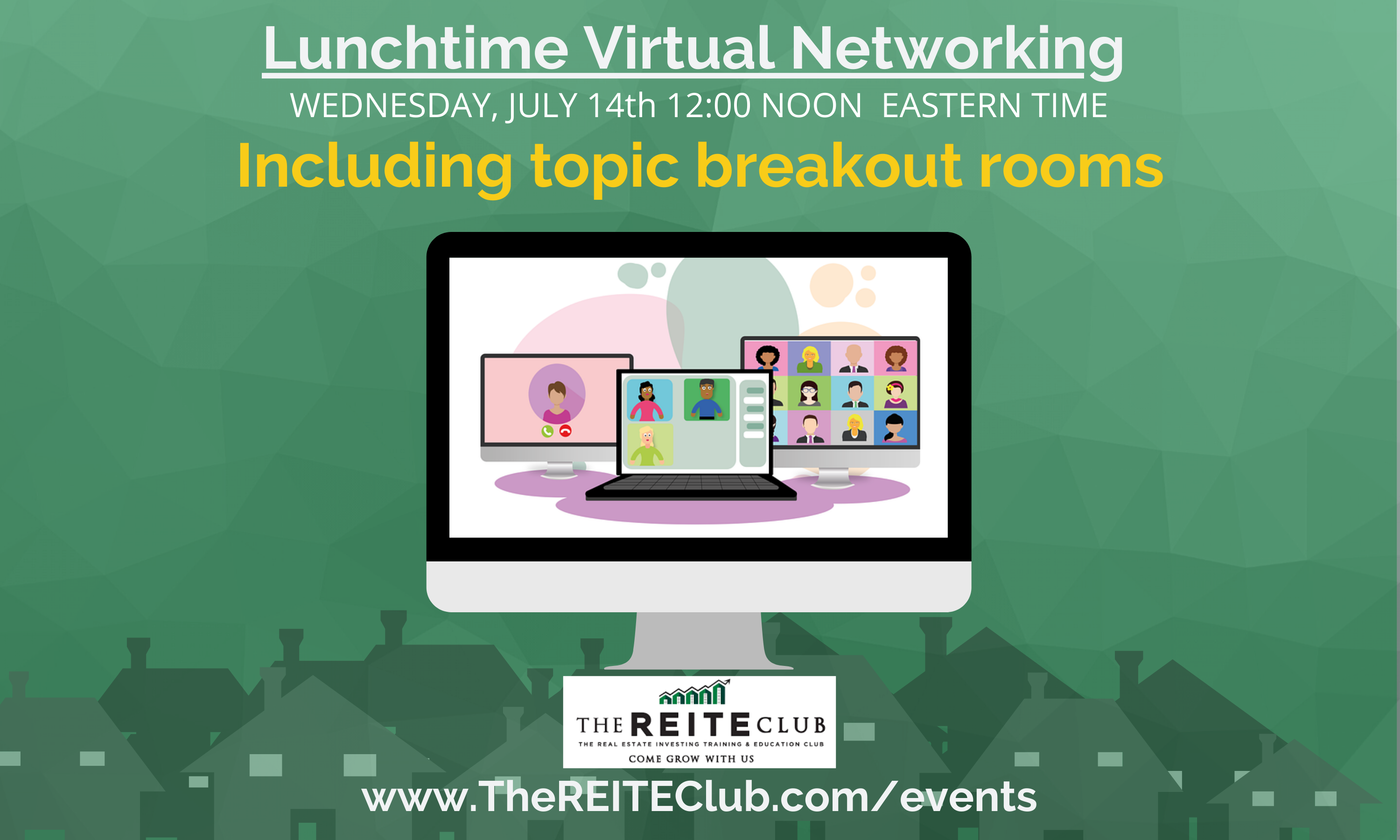 Summertime! Virtual networking on our virtual patio at noon!